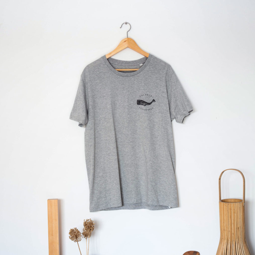Cachalot Surfboards planche surf handmade artisan shaper textile tee shirt gris